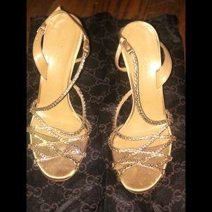Gold Topaz Satin Swarovski Crystal Heels Sandals